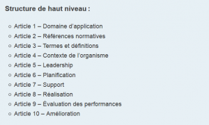 Exemple de sommaire annexe SL des normes de management ISO
